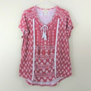 Style & Co size L buttoned tie front tee